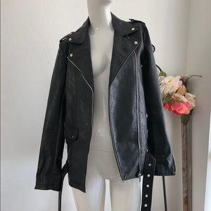 Zara Long Line Faux Leather Biker Jacket